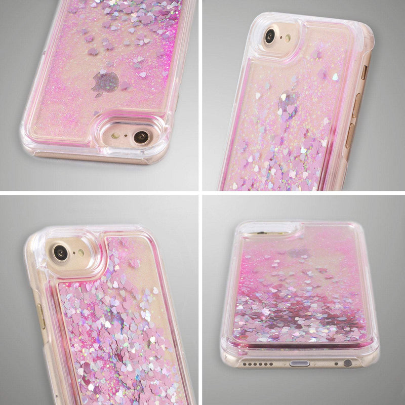 Floral Glitter iPhone 7 Case Girl Power iPhone 7 Plus Sparkle Case Flowers iPhone 8 Case Liquid Glitter iPhone 6s Case Phone 6 iPhone CA1202 - Phone Cases