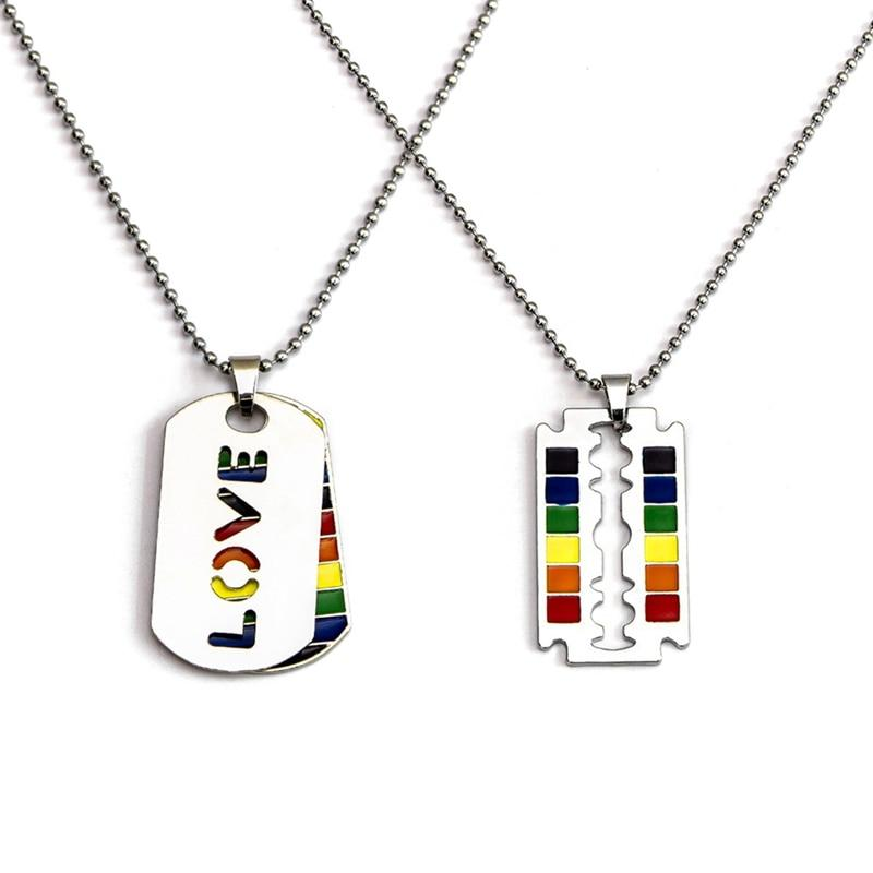 Gay Flag Rainbow Razor Blade Pendant Gay And Lesbian Pride Necklace LGBT Gay And Lesbian Pride Lace Choker Jewelry - Pendants