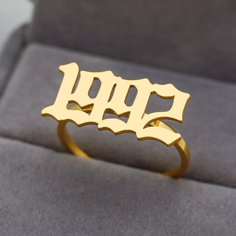GOLD Birthday date special year number ring ladies ring men's ring stainless steel date jewelry Anillos custom old - Stackable Rings