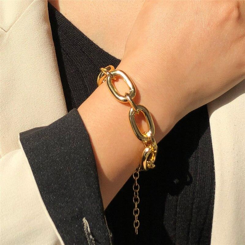 Gothic Gold Chain Choker BRACELET Women Statement Hip Hop Big Chunky Thick Chains Necklaces for Women Boho Jewelry - Charm Bracelets