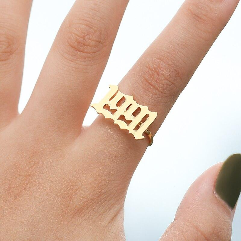 Gothic Old English 2014 2015 2016 2017 2018 2019 2020 Personalized Number Year Ring Birthday Gifts Rose Gold Friendship Ring Platinum - Monogram & Name Necklaces