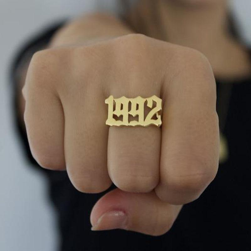 Gothic Old English 2014 2015 2016 2017 2018 2019 2020 Personalized Number Year Ring Birthday Gifts Rose Gold Friendship Ring [Rose Gold] - Monogram & Name Necklaces