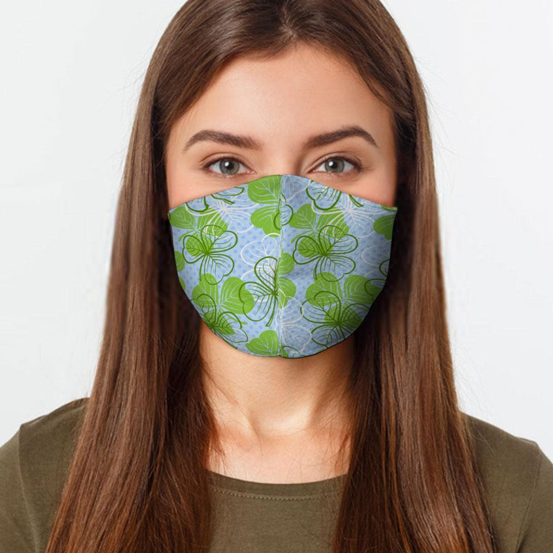 Green Clovers Face Cover, Floral Face Mask - Face Masks & Coverings