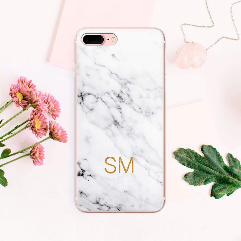 Personalized White Marble Custom Marble iPhone Monogram Name Initials For Girls Protective Hard Case Cover For iPhone XS iPhone XR CA1008 - EtsySales