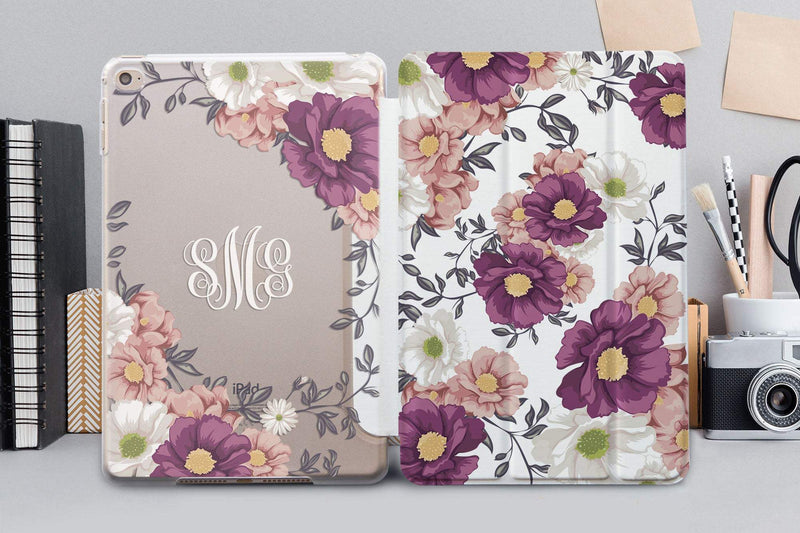 Floral Monogramed iPad Air 4SmartCover Case iPad Mini 5 Leather SmartCover Case iPad Pro 12.9 2018 Floral Case iPad Air 4 Case CA4006 - EtsySales