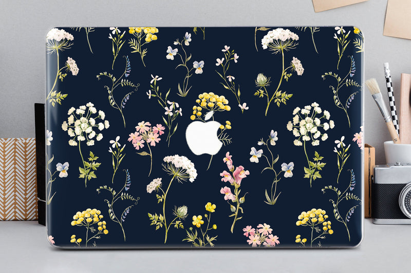 Macbook Air 13 Case Flower Macbook Hard Black Macbook Pro 13 2019 Hard Case Wild Flowers Macbook Pro 15 2019 Case Macbook 11 Cover CA2158 - EtsySales