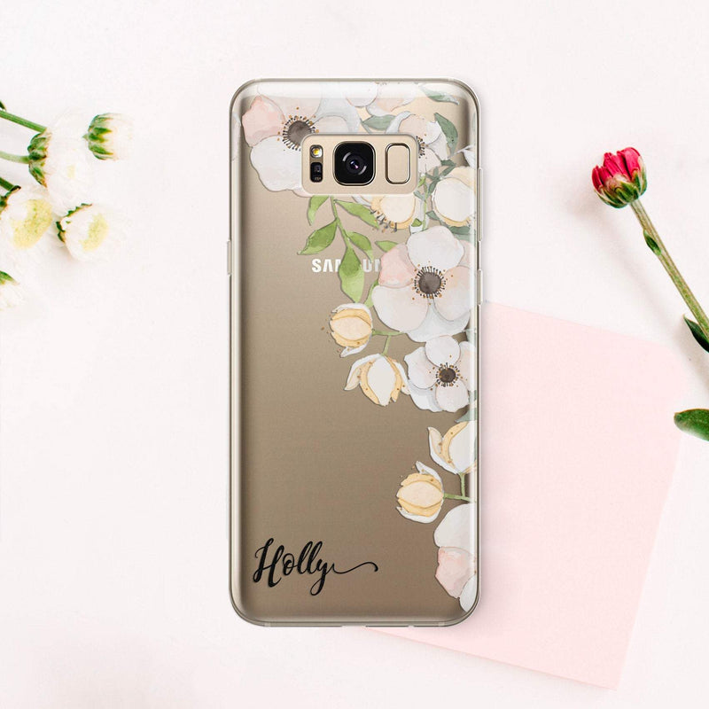 Own Name iPhone XR Case Flower Art iPhone X Case Personalized iPhone 7 Plus Floral iPhone XS Clear iPhone 7 Pixel XL Samsung S9 CA2192 - EtsySales