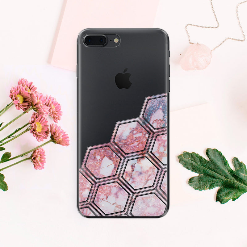 Honeycombs Pink Marble iPhone XR Case iPhone 6S Cover iPhone XS Case iPhone 7 Case Transparent iPhone 7 Plus Case Clear iPhone 6 Plus CA1003 - EtsySales