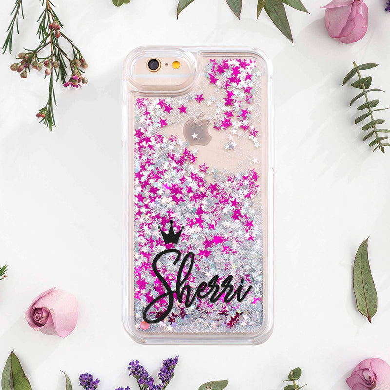 Monogram iPhone XS Case iPhone 8 Plus Case Liquid Glitter Cover For iPhone 7 Plus Case Pink Glitter iPhone 6S Case Plastic Cover CA2281 - EtsySales
