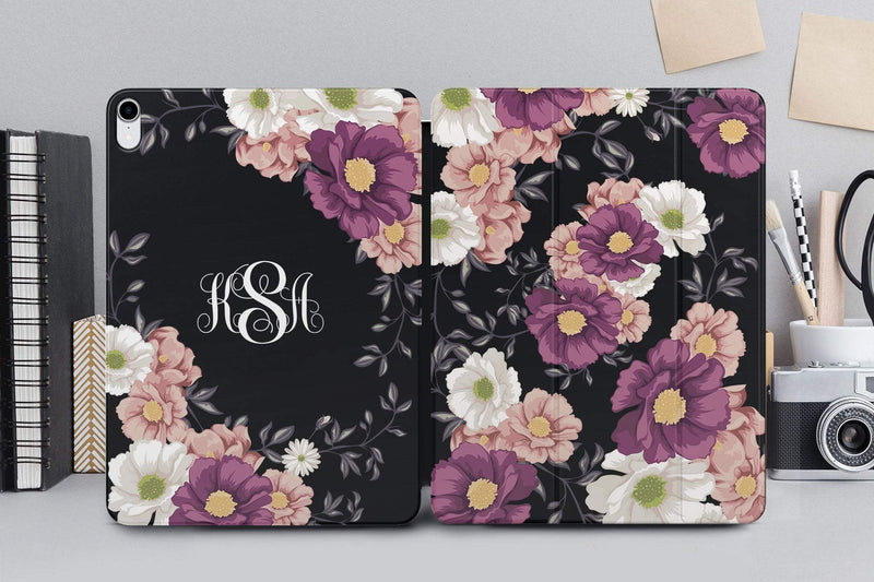 Flowers Case Ipad 11.4 Cover New Floral Magnetic iPad Case Monogram iPad Pro 12.9 2018 Case Spring Smart Cover Black Magnetic Case CA4006 - EtsySales