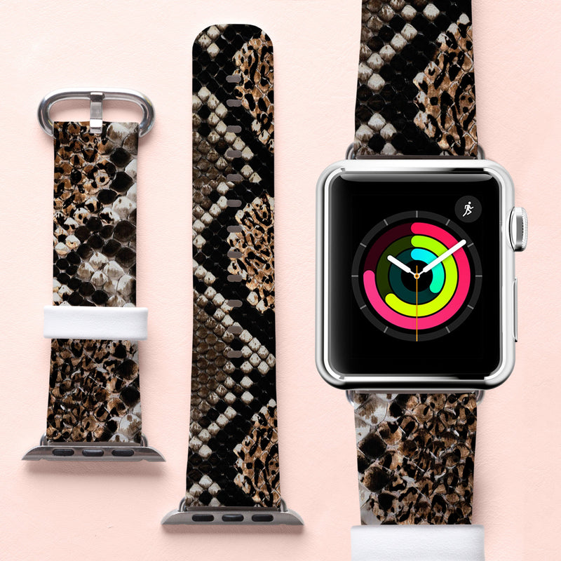 Snake Skin Watch Strap Handmade Leather Watch Band Python Print Wristwatch Apple Bracelet Animal Skin iWatch Strap Unisex Watch CA2306 - EtsySales