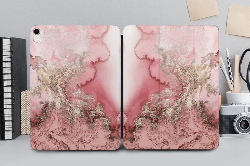 Rose Gold Marble Case New Magnetic iPad Case Ipad 11.4 Cover Stone iPd Pro 12.9 2018 Case Black Magnetic Case Golden Smart Cover CA2268 - EtsySales