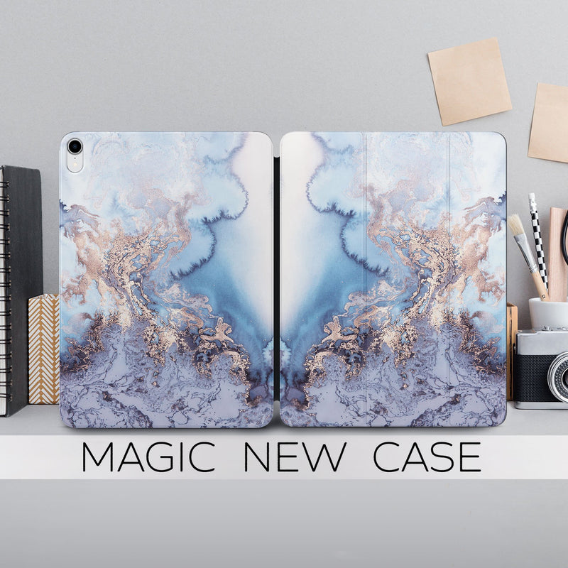 Golden Blue Marble Case iPad Pro 12.9 2018 Case New Magnetic iPad Case Ipad 11.4 Cover Stone Black Magnetic Case Cute Smart Cover CA2201 - EtsySales