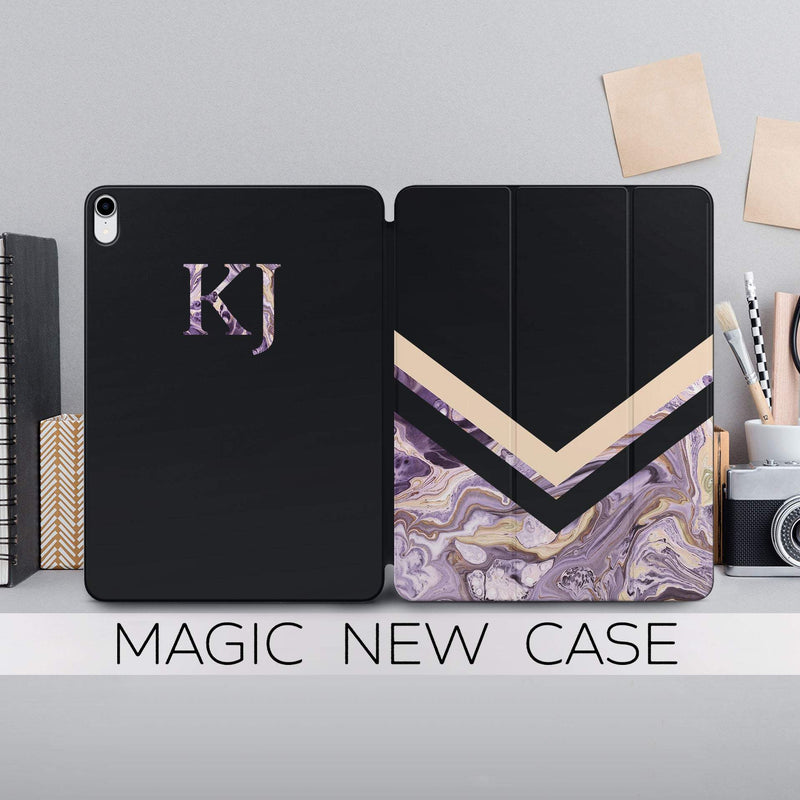 Violet Marble Case iPad Pro 12.9 2018 Case New Stone Magnetic iPad Case Geometry Print Ipad 11.4 Cover Monogram Black Magnetic Case CA4002 - EtsySales