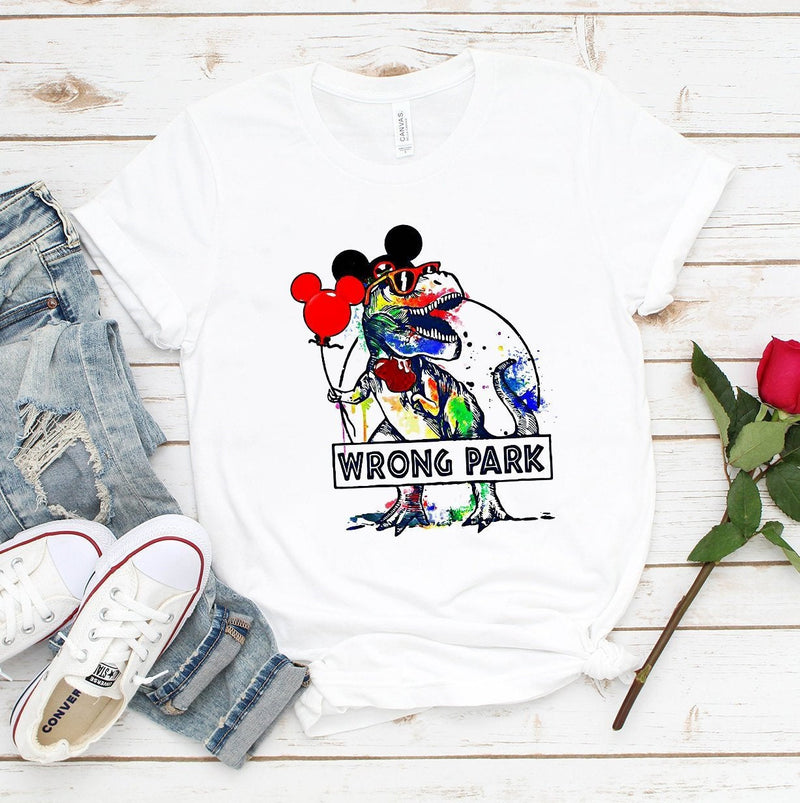 Wrong Park Shirt Funny Dinosaur Wrong Park Shirt Watercolor Gift T-Rex Mouse Disney Mickey Short-Sleeve Unisex T-Shirt