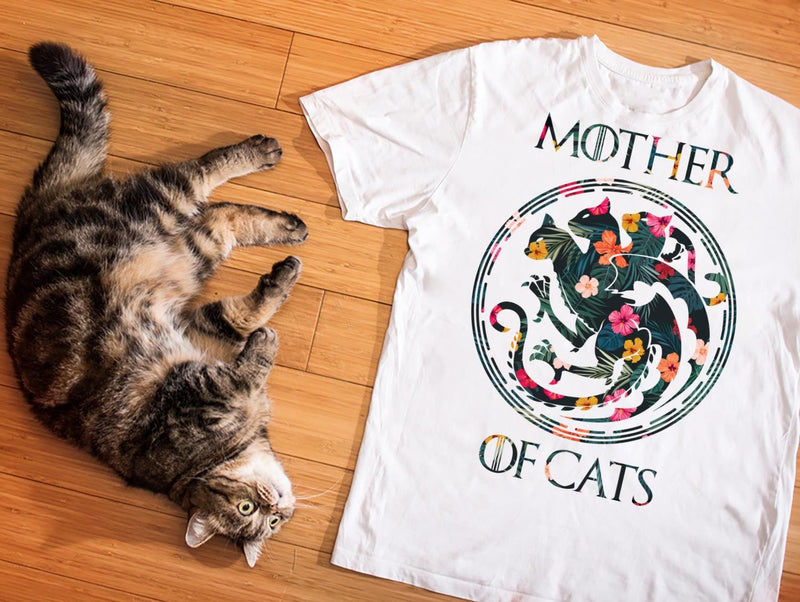 Mother Of Cats Floral Shirt - GOT Fans Shirt - Funny Cat Shirt - Mother's Day Gift Ideas - Cat Mom T-shirt - Mother Birthday Gift Shirt
