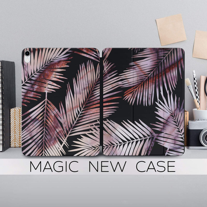 Rose Gold Marble Case Palm Leaves Print iPad 11.4 Magnetic Case iPad 12.9 2018 Cover Smart Folio Case Tropical Leaf Case Smart Cover CA2334 - EtsySales