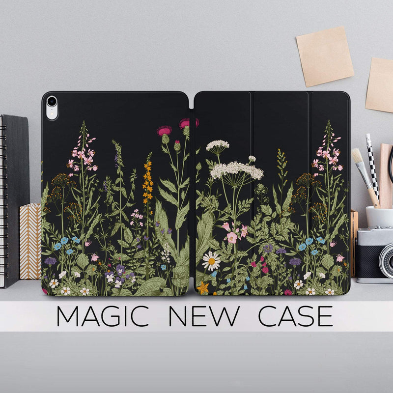 Wildflowers iPad Pro 11.4 Magnetic Case iPad Pro 12.9 2018 Cover Floral iPad 11 Magnetic Case New iPad 2018 Smart Folio iPad Pro 12.9 CA2336 - EtsySales