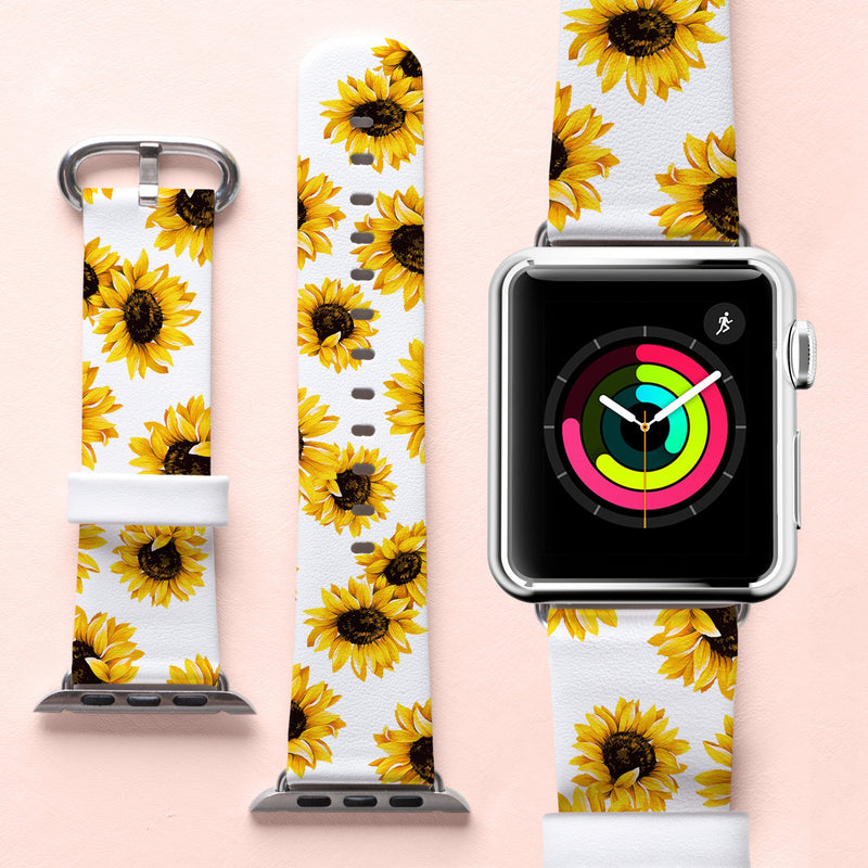 Sunflowers iWatch Band White Leather Apple Strap Watch Band Series 4 iWatch Strap 40 mm Flowers Band 38 mm Apple Band 42 mm Strap 7.5 CA2341 - EtsySales