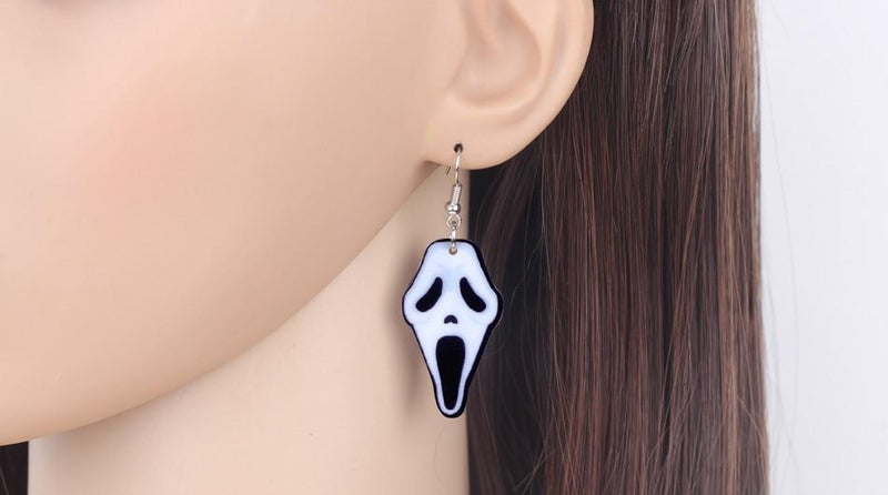 Acrylic Halloween Howling Ghost Earrings Dangle Drop Big Long Fashion