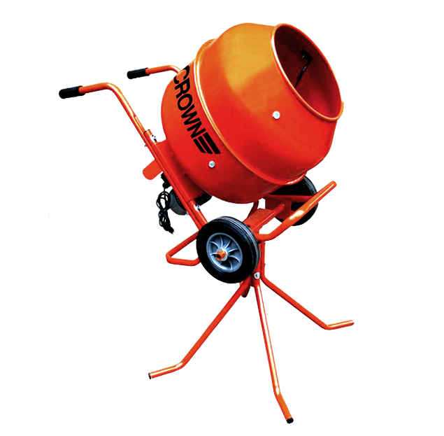 Crown: Max Mix - 3 Cubic Feet, Steel Drum, Pedestal/Wheelbarrow Utility Concrete Mixer