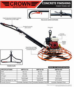 "Crown: 36"" Power Trowel, Combo Blades, GX160 Honda - WBT36_GH5"