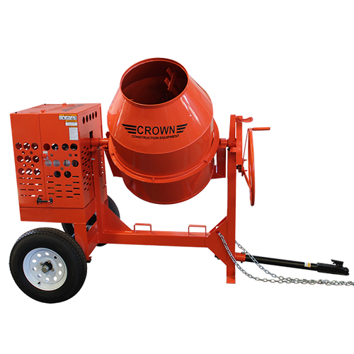 Crown: C12 Series - 12 Cubic Feet, Steel Drum, Torsion Axle, Highway Towable Concrete Mixer