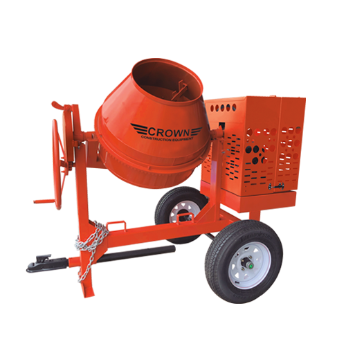 Crown: C9 Series - 9 Cubic Feet, Steel Drum, Torsion Axle, Highway Towable Concrete Mixer