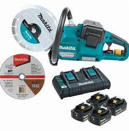 "Makita: 18V X2 (36V) LXT® Lithium‑Ion Brushless Cordless 9"" Power Cutter Kit, with AFT®, Electric Brake, 4 Batteries (5.0 Ah) XEC01PT1"