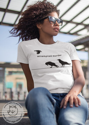 raven totem t-shirt, raven totem t-shirt, cute crow t-shirt, raven attempted murder t-shirt, animal totem design t-shirt, crow shirt, funny saying with raven, attempted murder raven shirt, funny crow shirt, crow attempted murder shirt, crow totem shirt, minimal raven design, custom raven shirt, funny crow saying