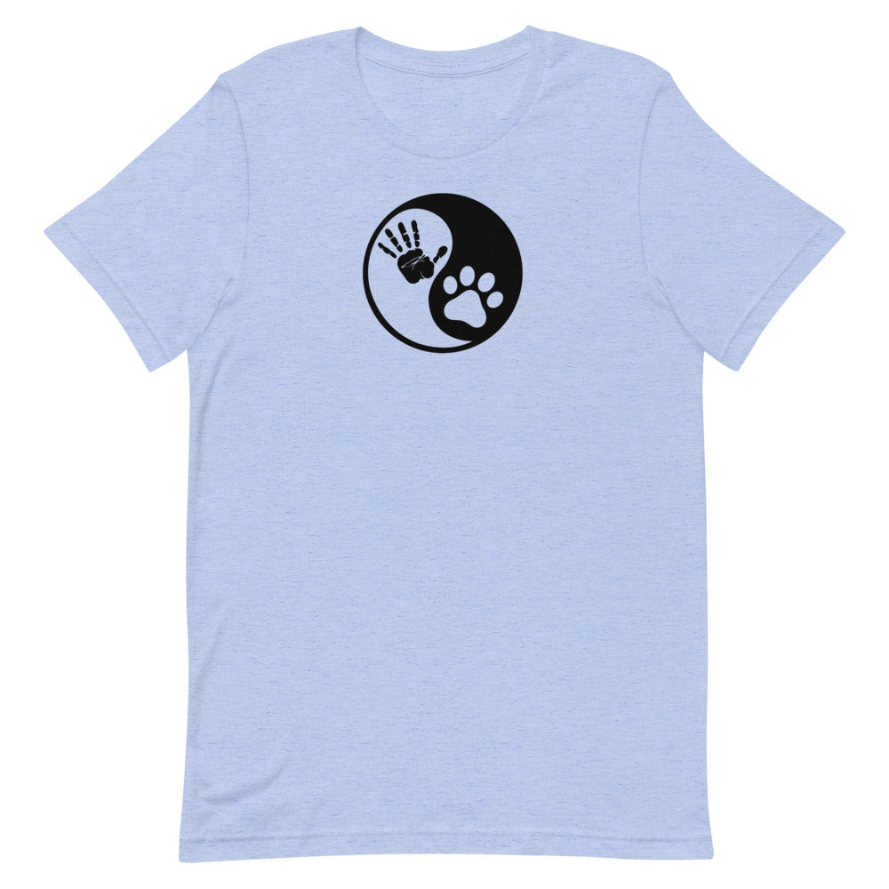 Yin Yang Hand & Paw Short-Sleeve Unisex T-Shirt | Animal Harmony T-Shirt
