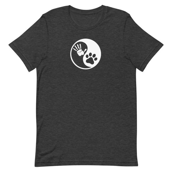 yin yang animal totem t-shirt, yin yang paw print, yin yang hand print and paw print, harmony t-shirt, yoga t-shirt, pet t-shirt, dog t-shirt, animal love t-shirt