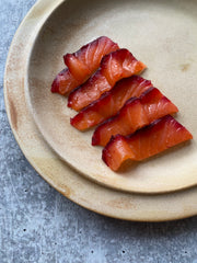 Pine Cone Smoked Salmon with Vodka and Beetroot, 5 oz.
