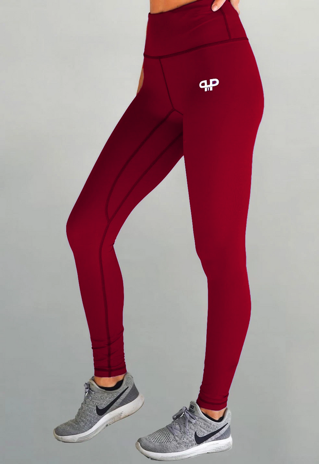 Glam high waisted leggings-burgundy - Intensiti