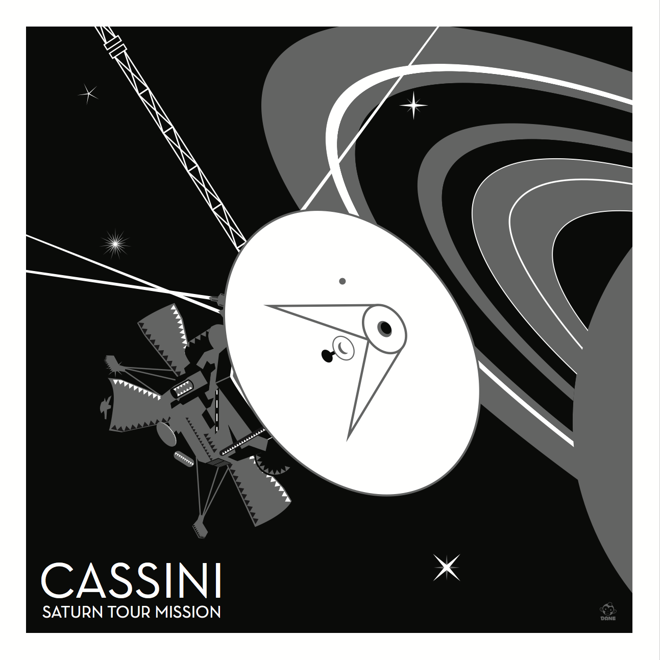 Cassini Saturn Probe 10x10 Giclee Print