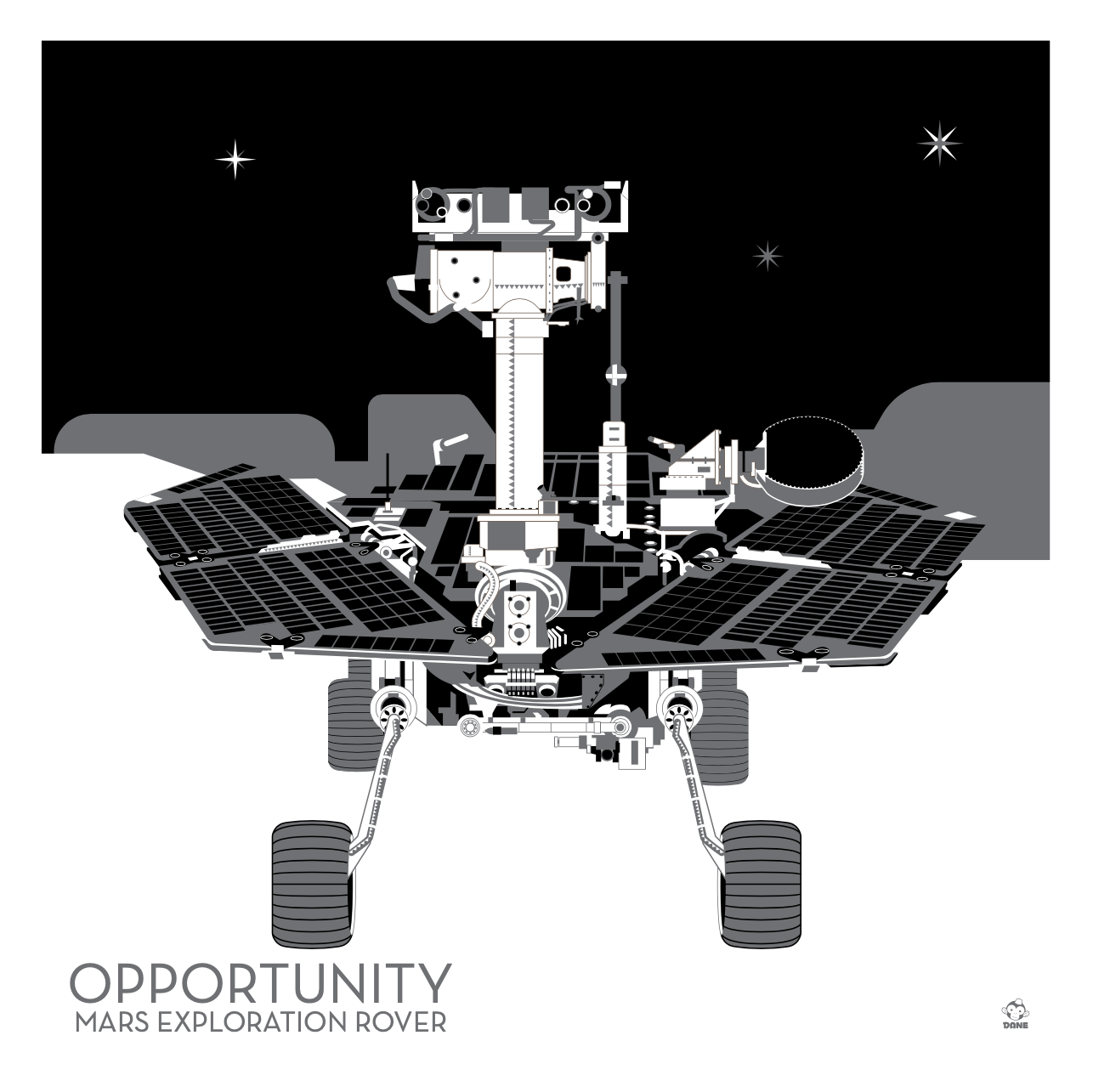 Opportunity Mars rover - 10x10 Giclee Print