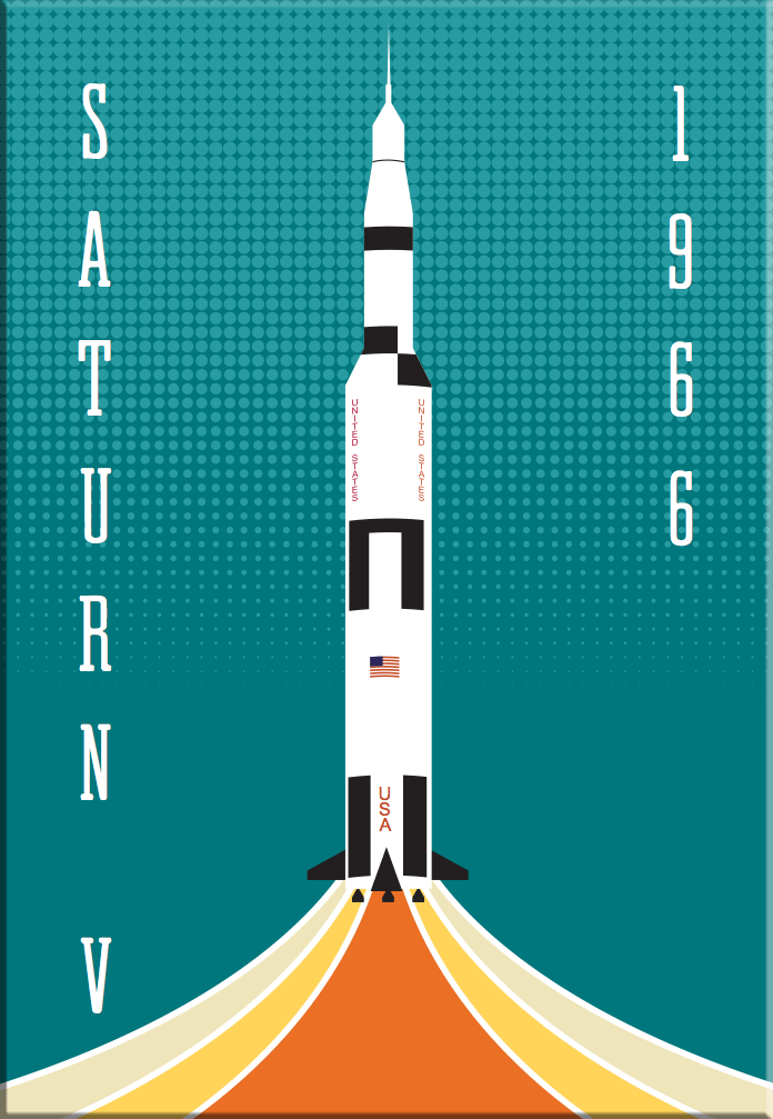 Saturn V NASA Rocket 2x3 Magnet