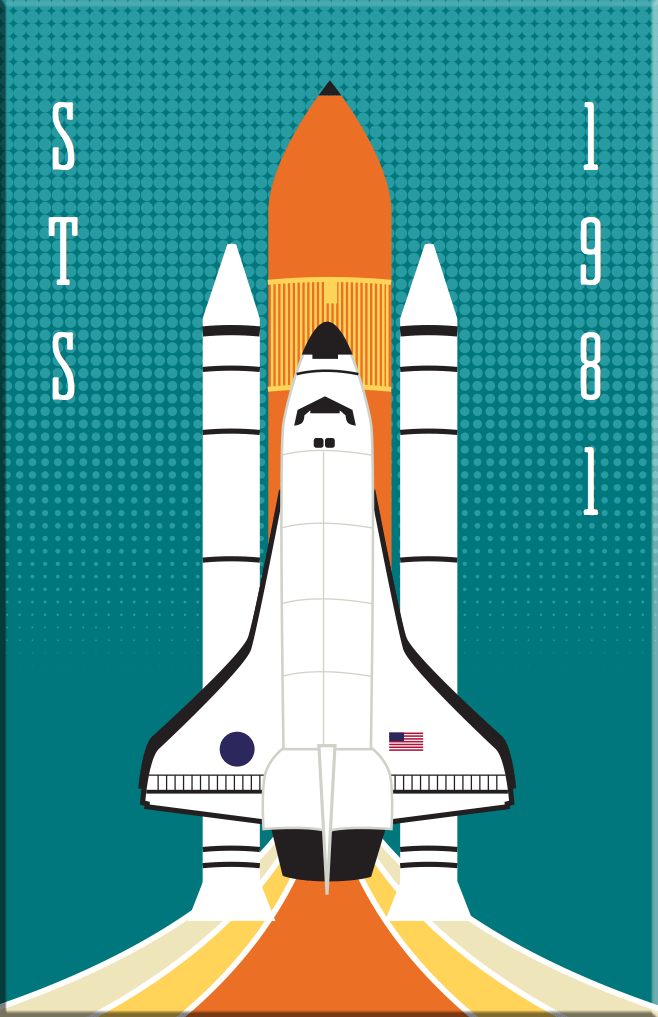 STS NASA Space Shuttle 2x3 Magnet