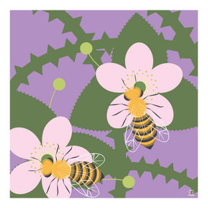 Buzz Bees and Blackberries 10x10 Giclee Print