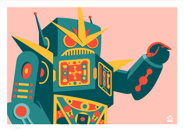 Robot (Blue Edition) Limited 5x7 Giclee Print