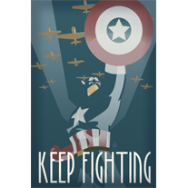 Load image into Gallery viewer, Keep Fighting Captain America Avengers 12x18 Propaganda Print