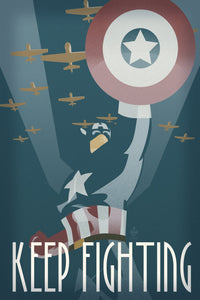 Keep Fighting Captain America Avengers 12x18 Propaganda Print