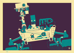 Curiosity Space Probe Retro 5x7 Giclee Print