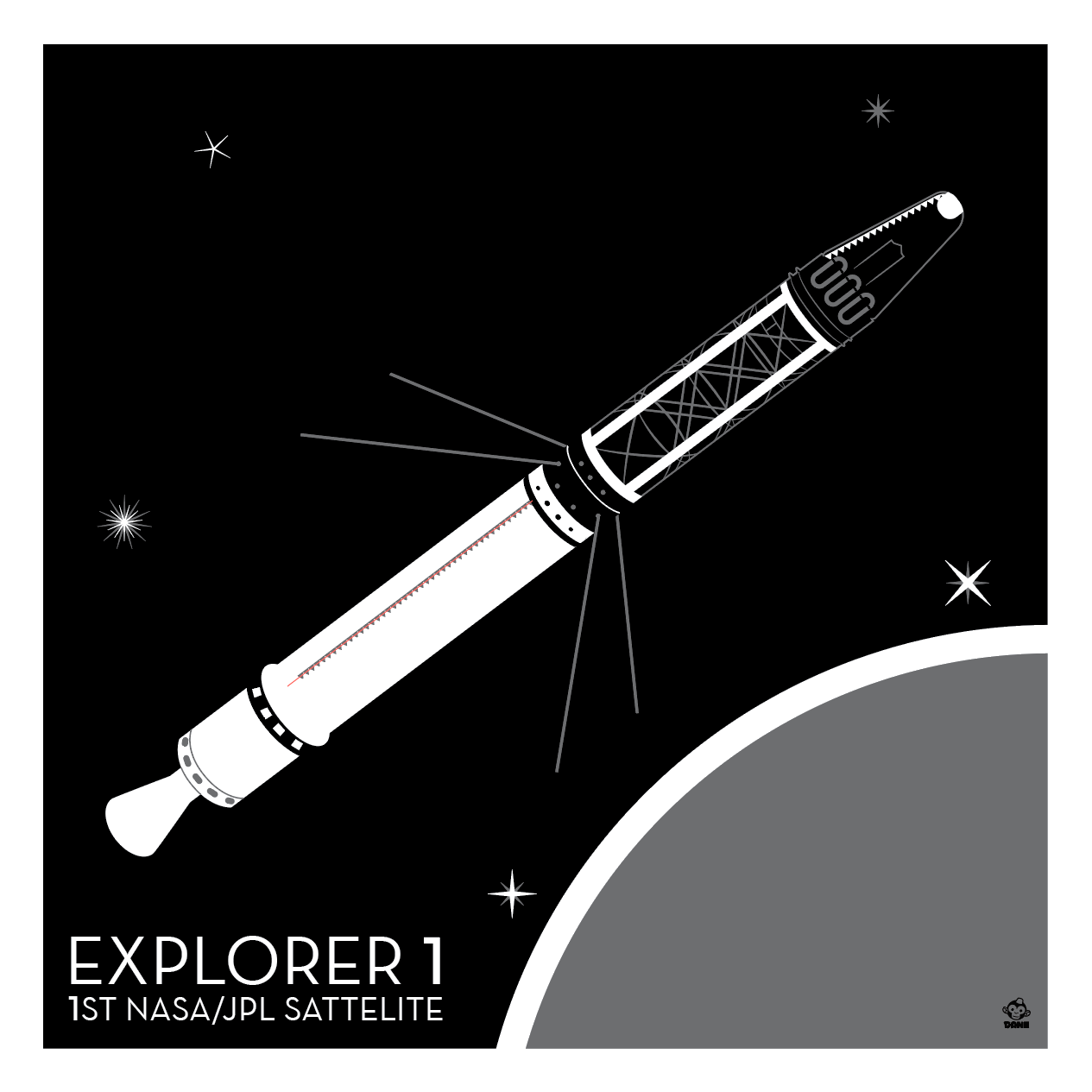 Explorer 1 Satellite - 10x10 Giclee Print