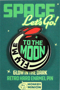 Fly Me To The Moon Glow in the Dark Enamel Pin