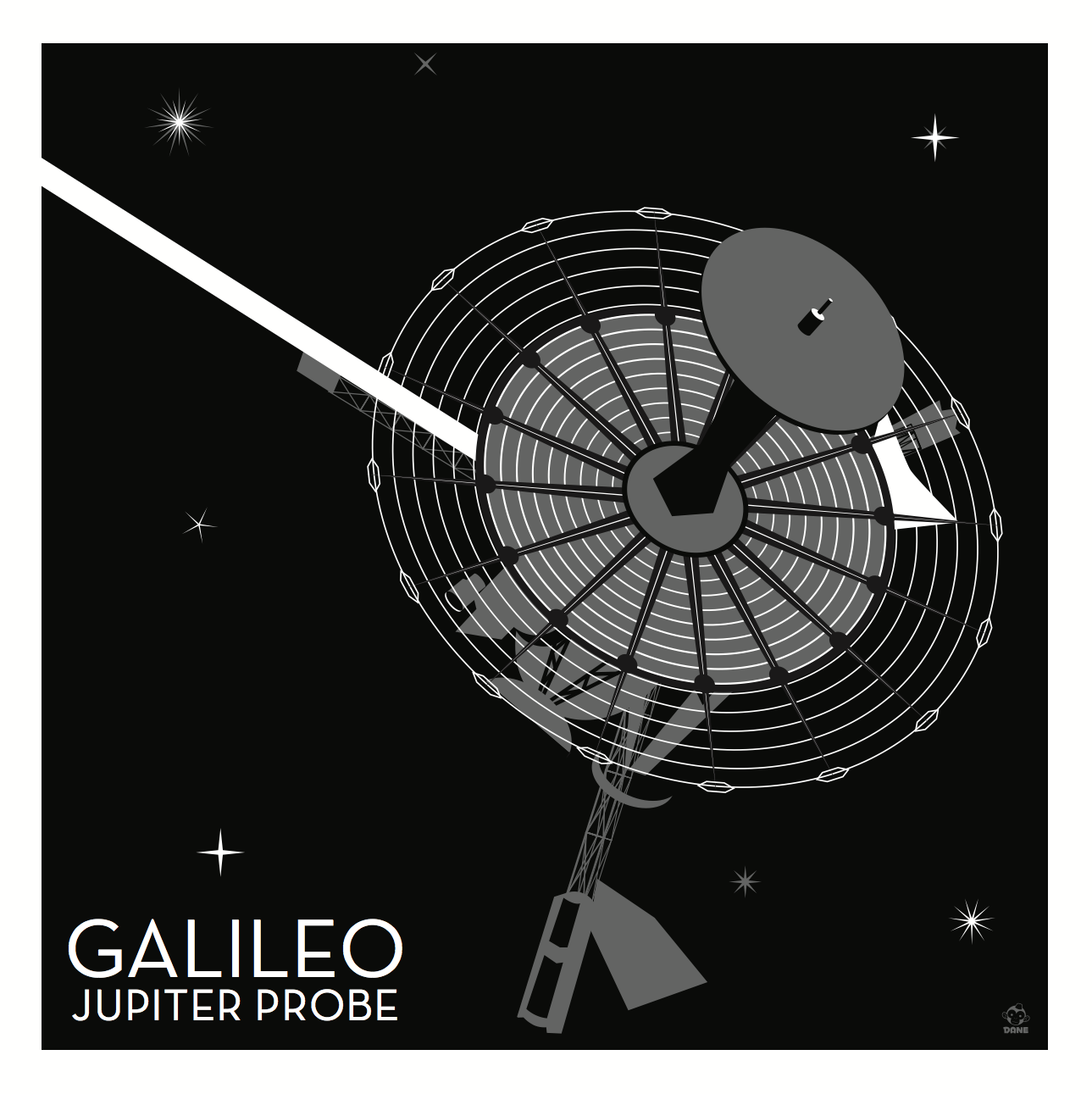Galileo Jupiter Nasa Probe - 10x10 Giclee Print
