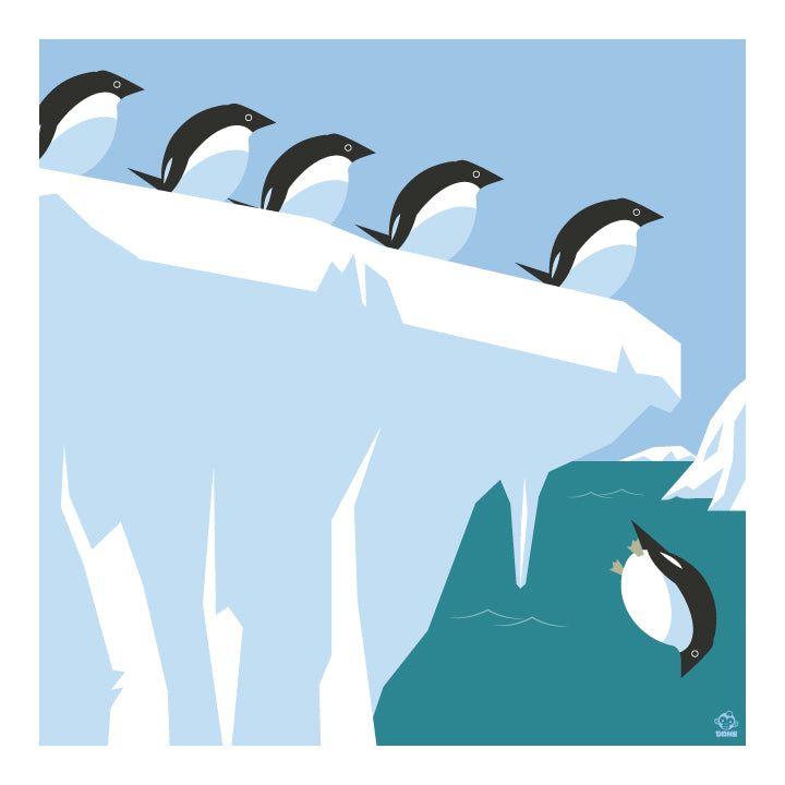 Polar Bear Club Adelie Penguins 10x10 Giclee Print