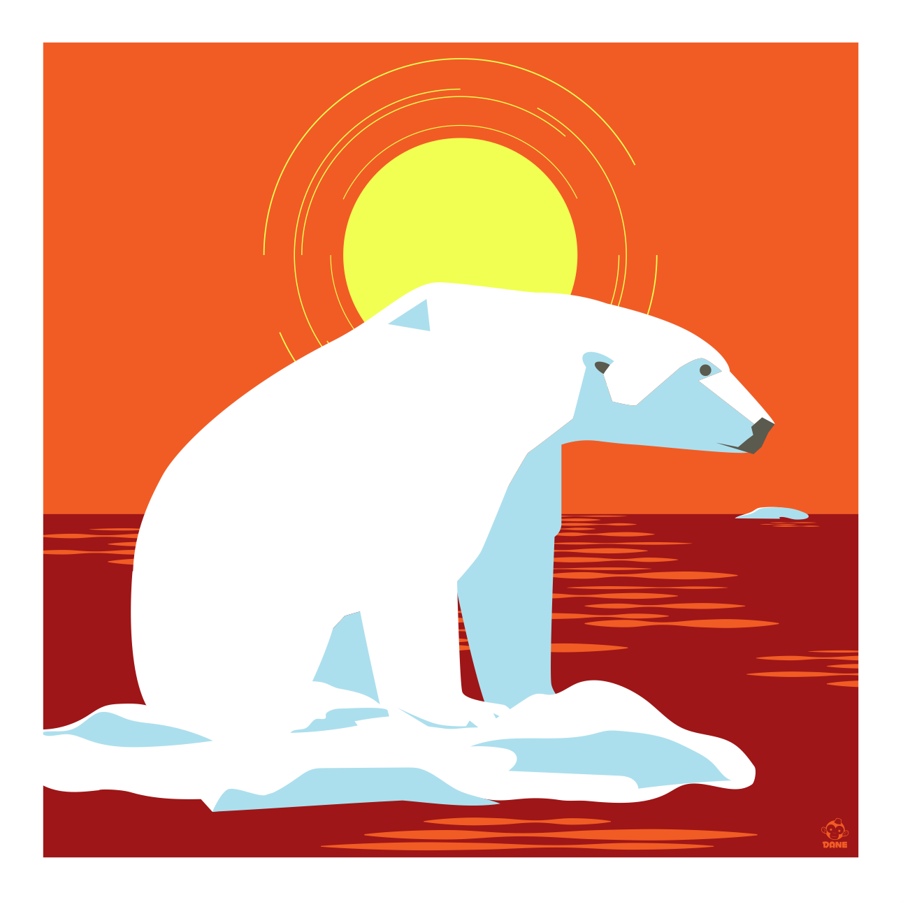 Waiting For Winter Polar Bear 10x10 Giclee Print
