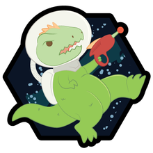 Load image into Gallery viewer, Space Dinos Rex Wooden Magnet
