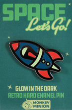 Load image into Gallery viewer, Rocket Ship Glow in the Dark Enamel Pin